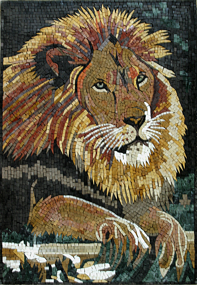 An616 Lion Head Mosaic Mosaic Marble