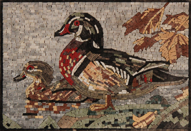 An661 Mother And Baby Duck Mosaic Mosaic Marble