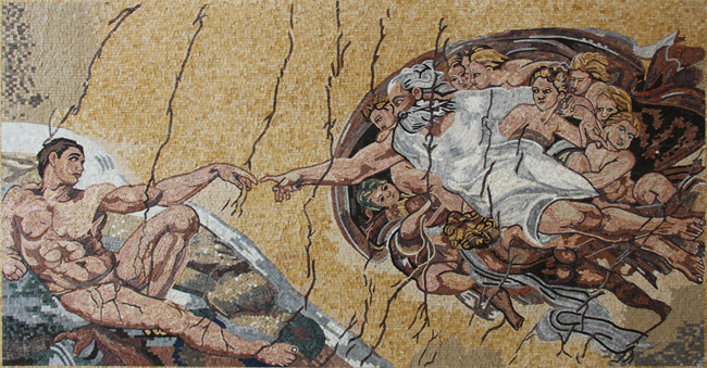 The Creation Of Adam In Natural Colors Mosaic Mosaic Marble