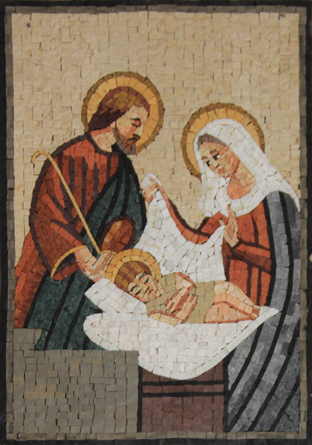 Nativity Birth Of Jesus Christ Religious Wall Mosaic
