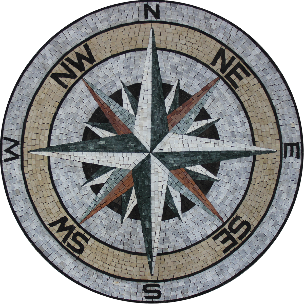 Marble Mosaic Medallion Earth Tones Compass Mosaic Marble