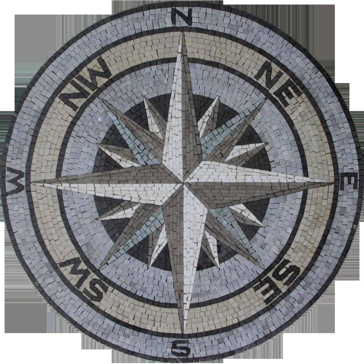 Floor Medallion Compass Sea Nautical Mosaic Mosaic Marble