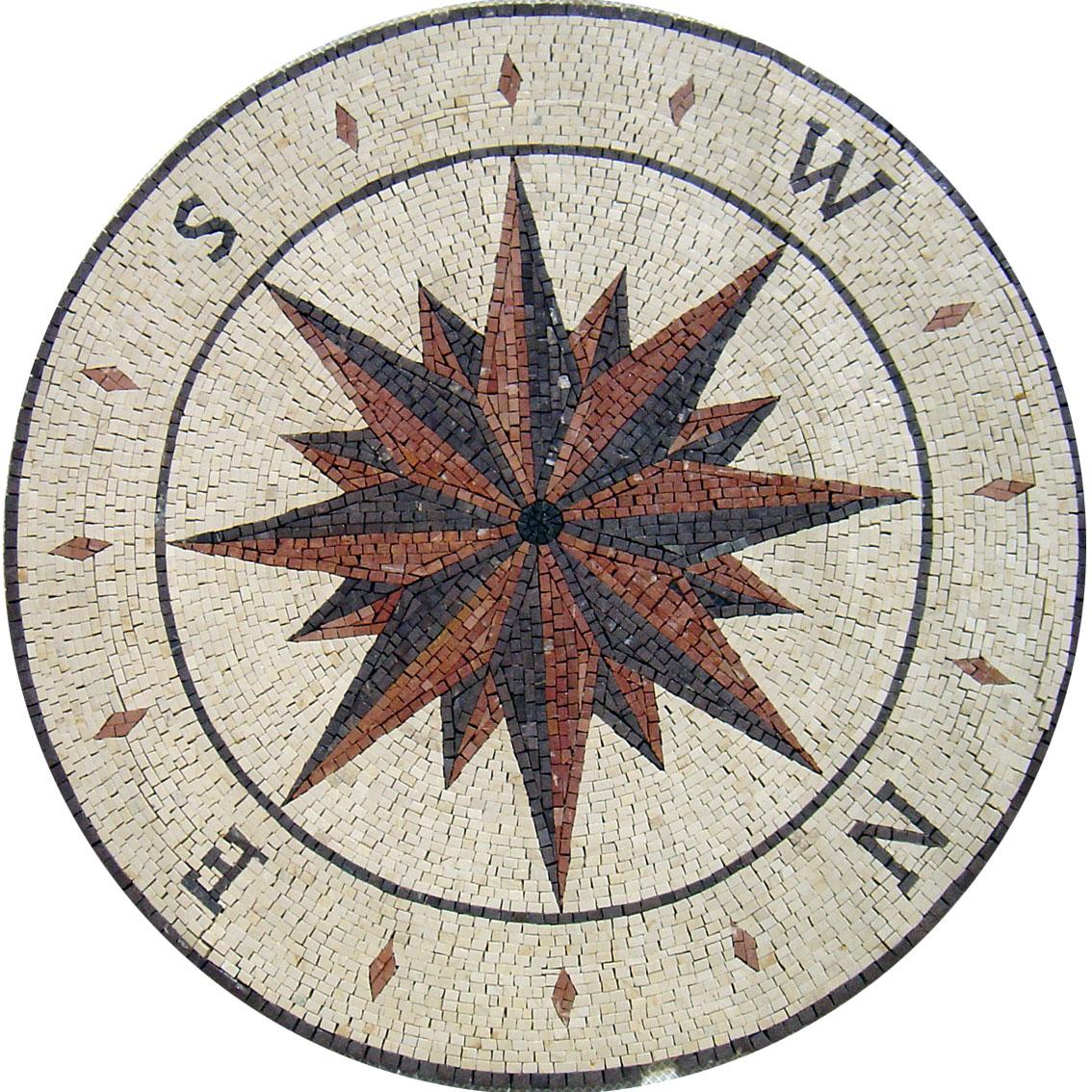 MD112 Compass nautical star Mosaic | Mosaic Marble