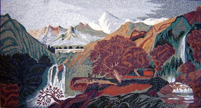 Cr100 Beautiful Waterfalls And Mountains Scene Mosaic