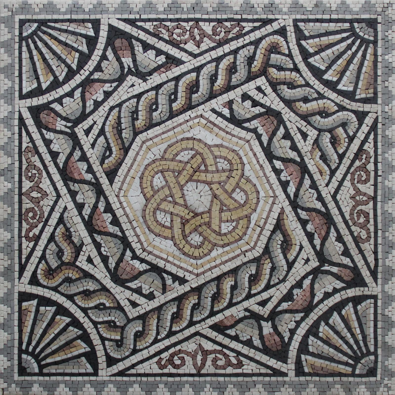 Greco Roman Eternity Motif Floor Mosaic Mosaic Marble