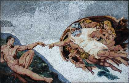 The Creation of Adam Neutral Tones Mosaic