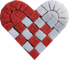 Red White Heart Pixel Art Passion  Mosaic