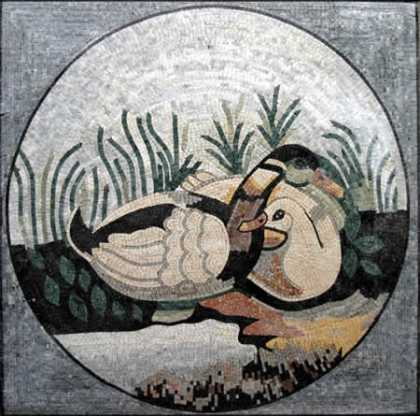 Marble Medallion in Square Ducks by the Lake  Mosaic