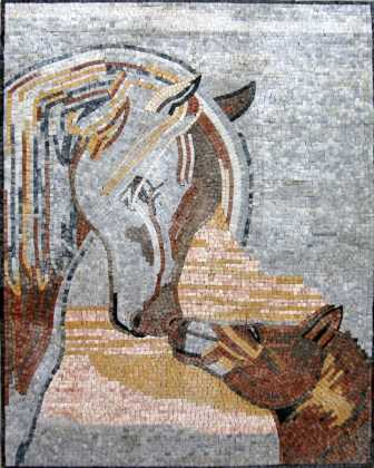 AN104 Mother & baby horse Mosaic