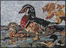 AN1075 Cute Duck Red Feathers Garden Nature Marble Mosaic