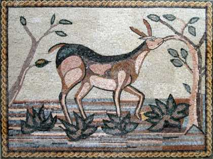 AN110 Gazelle reaching for leave tree Mosaic
