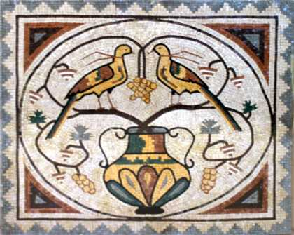 AN111 Vase and birds  Mosaic