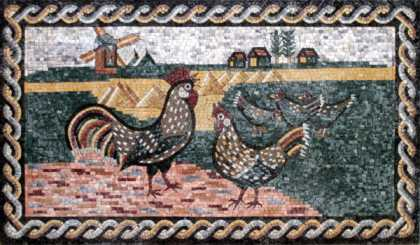 AN112 Roosters landscape Mosaic