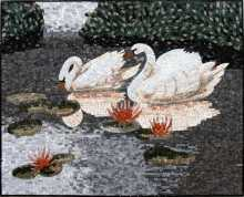 AN122 White Swans on Lake Mosaic