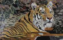 AN1222 Tiger in the Forest Marble Mosaic