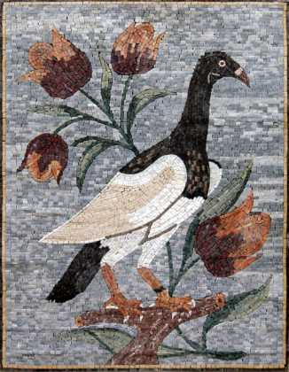 AN123 Big bird and red flowers Mosaic
