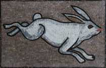 AN124 White jumping rabbit Mosaic