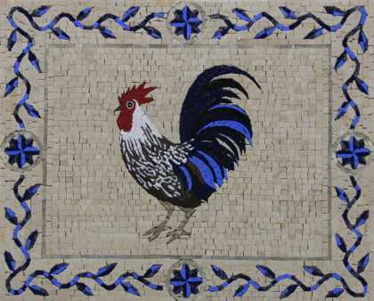 AN1241 Blue Crazy Funky Rooster  Mosaic
