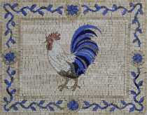 AN1242 Rooster Animal Garden Outdoor Home Art Marble Mosaic