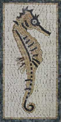 AN1248 Little Sea Horse Underwater Animal Marble Mosaic