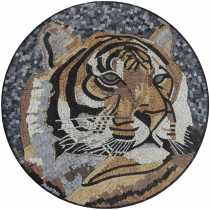 Tiger round medallion mural garden art