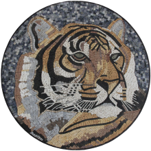 Marble Medallion Tiger Portrait Mosaic