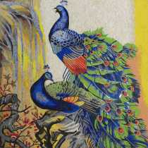 AN1253 Artistic Colorful Peacock Animal Blue  Mosaic