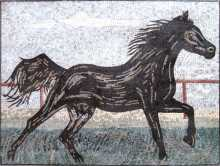 AN139 Black horse in motion Mosaic