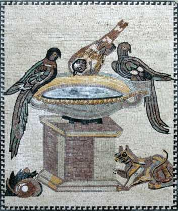 AN140 Birds drinking for water jar mosaic