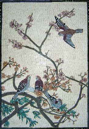 Birds and Pink Flowers Mosaic Tree