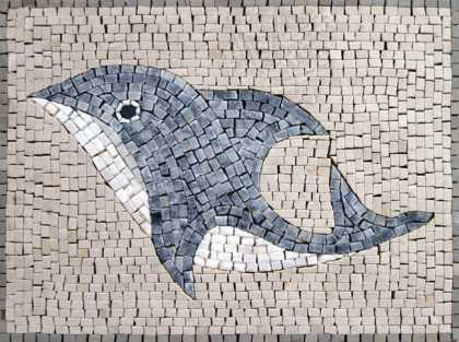 AN153 Simple dolphin marble mosaic