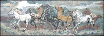 AN160 Rectangular galloping horses Mosaic