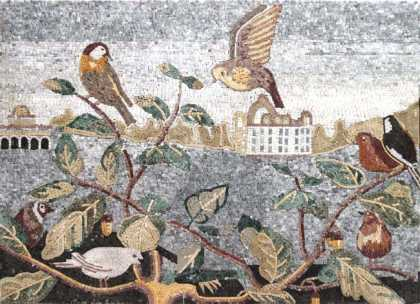 AN166 Birds on leaf branches landscape Mosaic