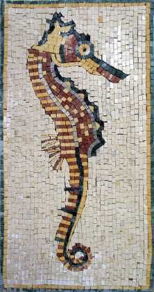 AN171 faded gold & red sea horse Mosaic