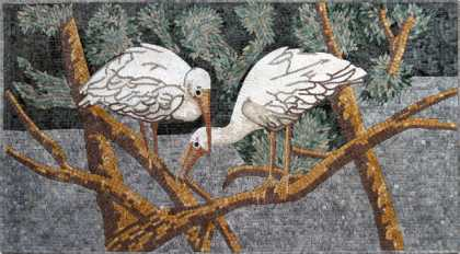 AN181 White storks on trees Mosaic
