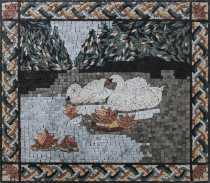 AN1842 Two Swan by the Lake Water Lilies Wall Marble Mosaic