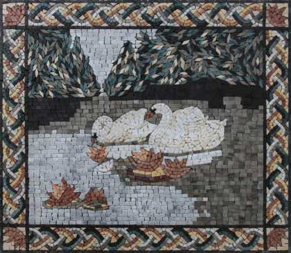 AN1842 Two Swan by the Lake Water Lilies Wall  Mosaic