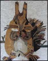 AN1843 Squirrel in Snow Fun Gift  Mosaic