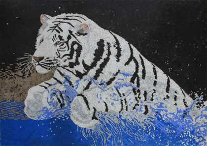 AN1860 White Tiger Water Splash Blue Aqua  Mosaic