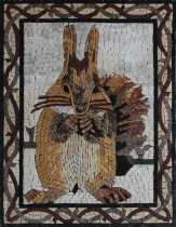 AN1862 Cute Little Squirrel and Acorn in Snow  Mosaic