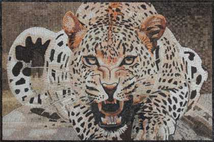 Ferocious Leopard in the Wild Wall Mosaic