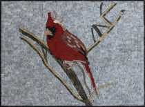 AN1864 Mini Red Cardinal Bird Handmade Home  Mosaic