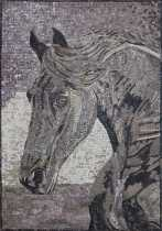 AN1866 Horse Portrait Animal Wall Decor Tile Marble Mosaic