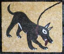 AN187 Black dog with lace Mosaic