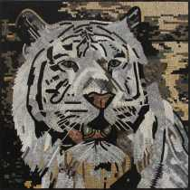 AN1880 White Tiger Wall Art Square Decor