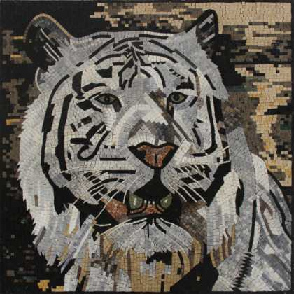 AN1880 White Tiger Wall Art Square Decor  Mosaic