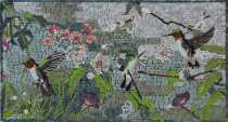 AN1881 Humming Birds Spring Garden Colorful  Mosaic