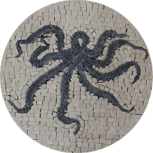 Grey Octopus Round Mosaic