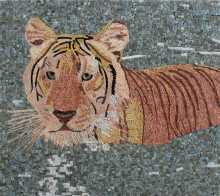 Tiger in Lake Mosaic