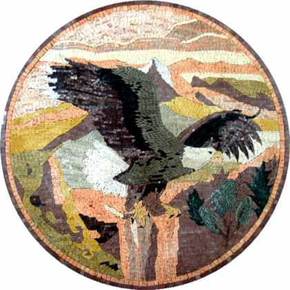 Marble Medallion Pastel Eagle in Landscape Mosaic